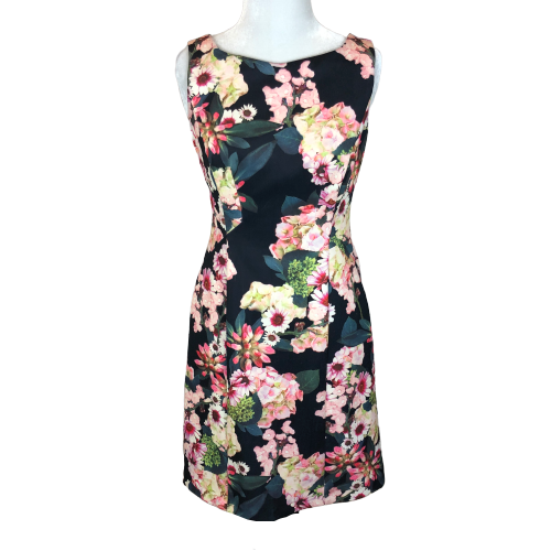 Adrianna Papell Floral A-Line Scuba Dress - Size 2