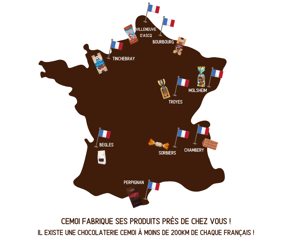 Carte de France des Chocolats Cemoi