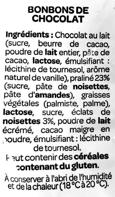 Liste des ingredients