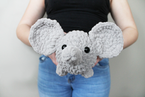 Plush Elephant Amigurumi Log Animal! Super soft, handmade and machine washable!