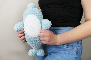 Plush Narwhale Amigurumi Log Animal! Ultra soft, handmade and machine washable!