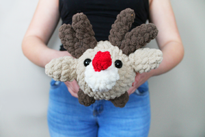 Plush Christmas Reindeer Rudolph Amigurumi Log Animal! Ultra soft, handmade and machine washable!