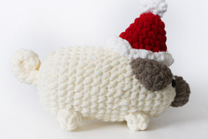 Amigurumi Santa Pug Plush || Santa Claus || Ultra-Soft || Perfect Gift || Christmas || Crochet