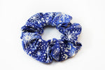 Christmas Blue with Metallic Snowflake Scrunchie