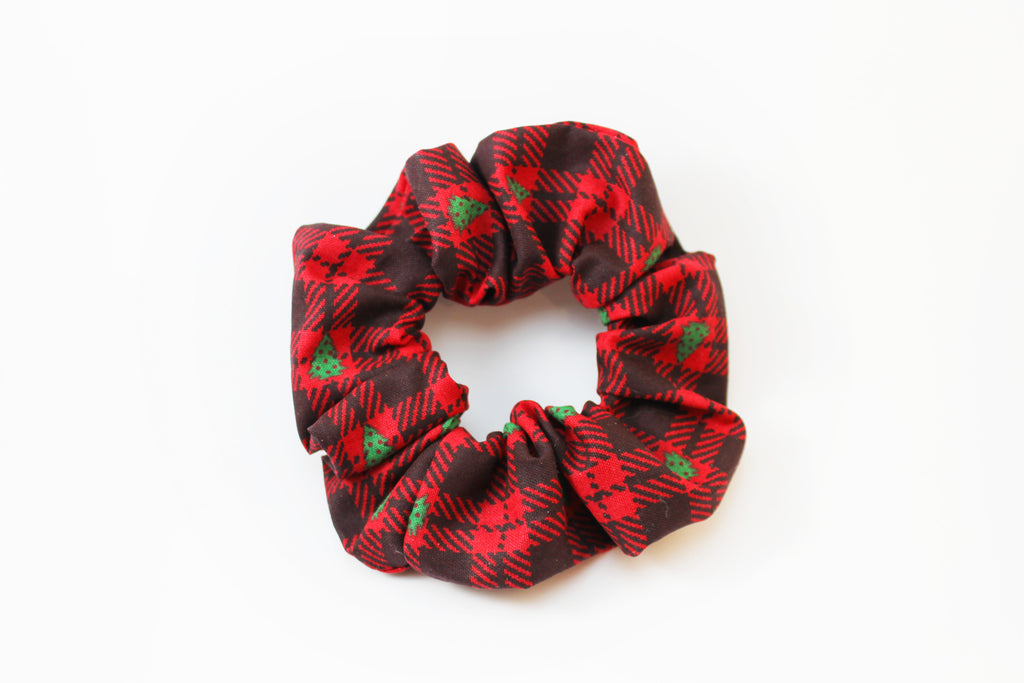 Christmas Flannel with Trees Scrunchie