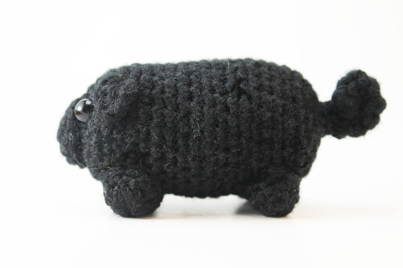 Amigurumi Black Pug Plush Small