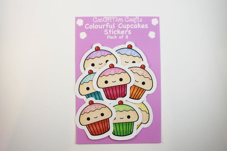 Colourful Cupcakes Stickers ||  Large || Pack of 8