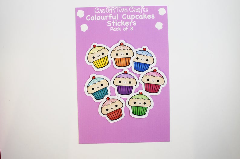 Colourful Cupcakes Stickers ||  Medium || Pack of 8