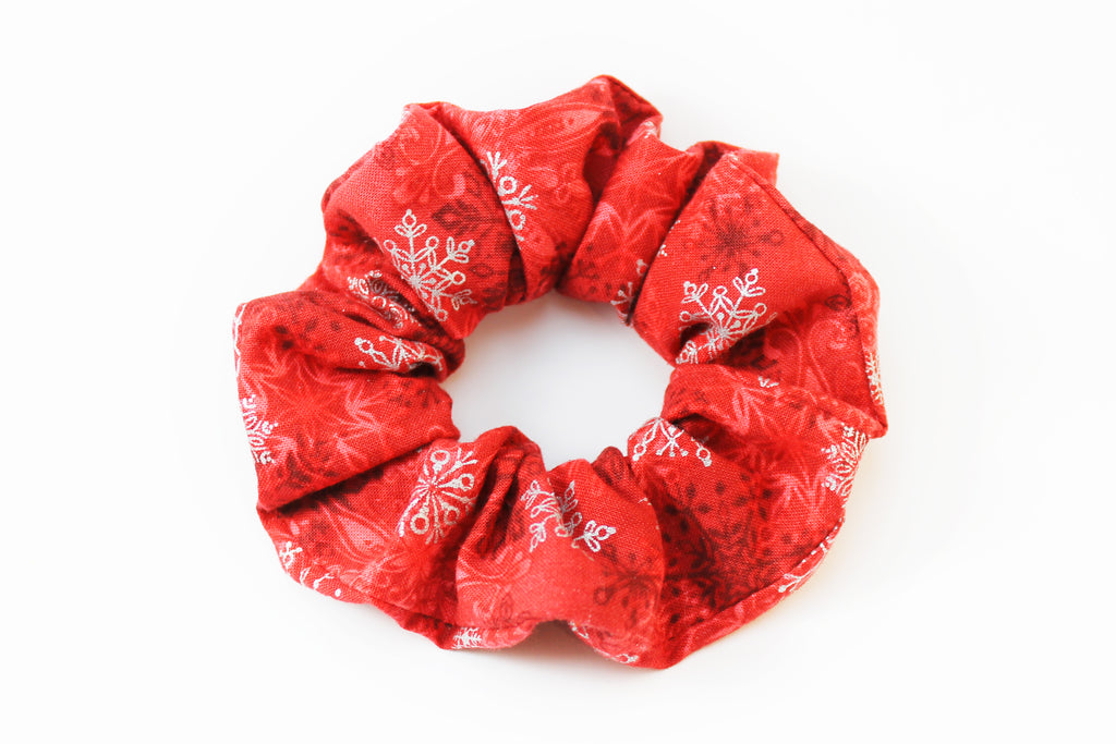 Christmas Red with Snowflakes Scrunchie