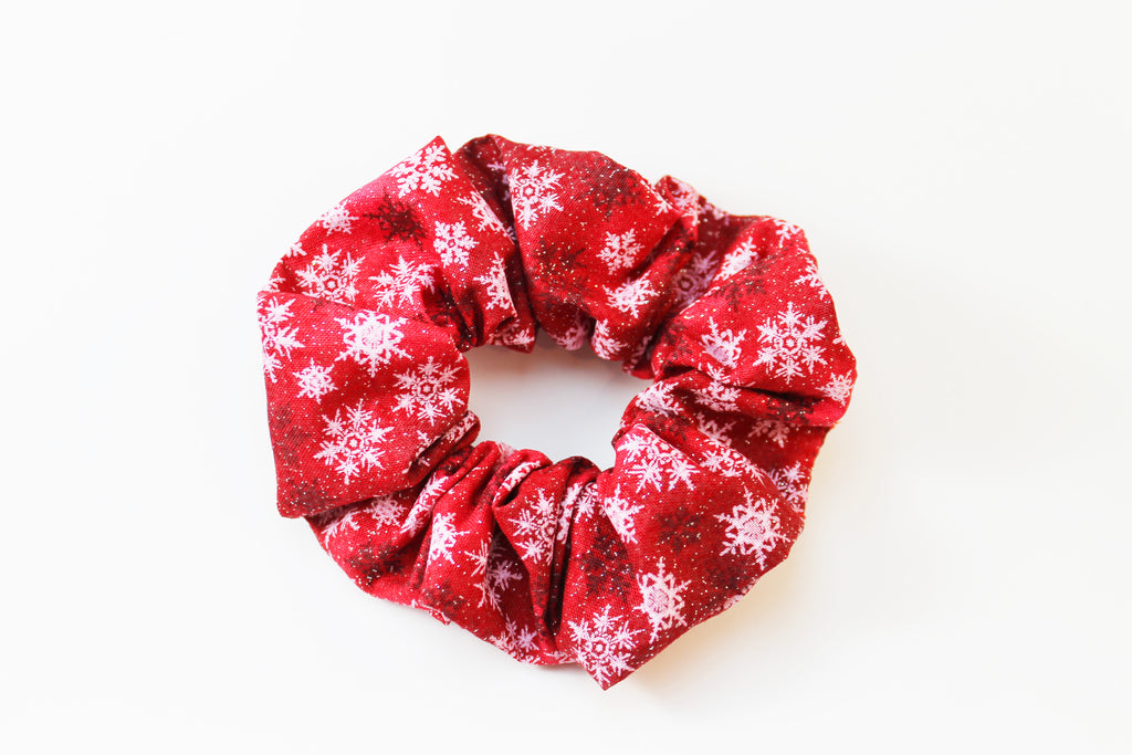 Christmas Red Snowflake Sparkly Scrunchie