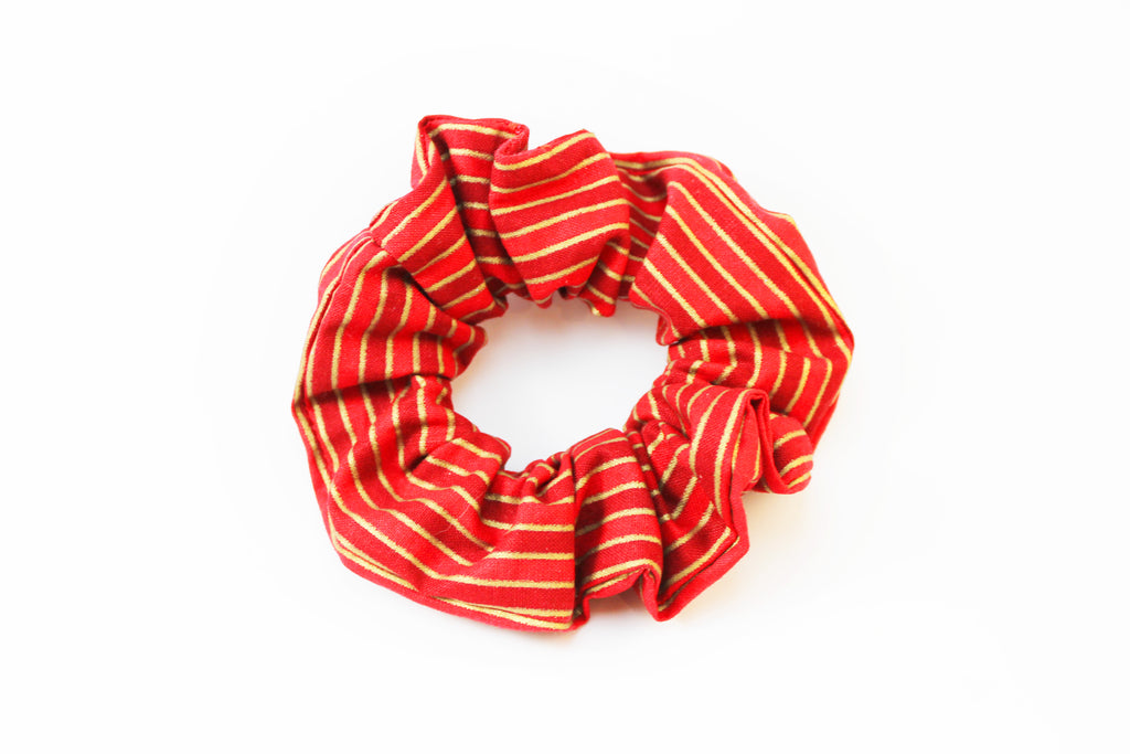 Christmas Red with Gold Stripes Scrunchie