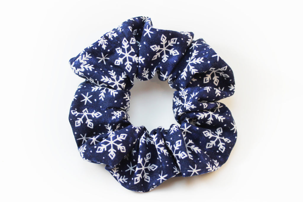 Christmas Dark Blue Snowflake Scrunchie