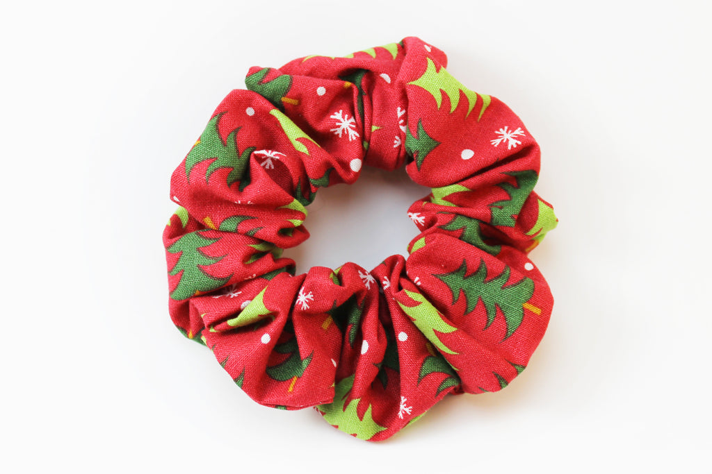 Christmas Red with Christmas Trees Scrunchie