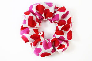 White w/ Hearts Valentine's Day Scrunchie
