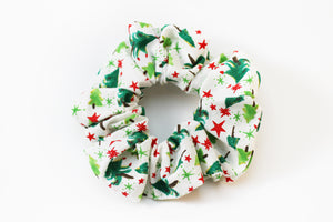 Christmas White with Christmas Trees Scrunchie