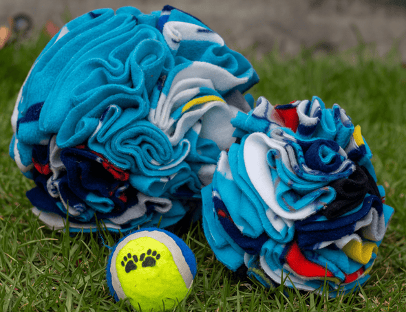 Snuffle Ball size compared to a tennis ball