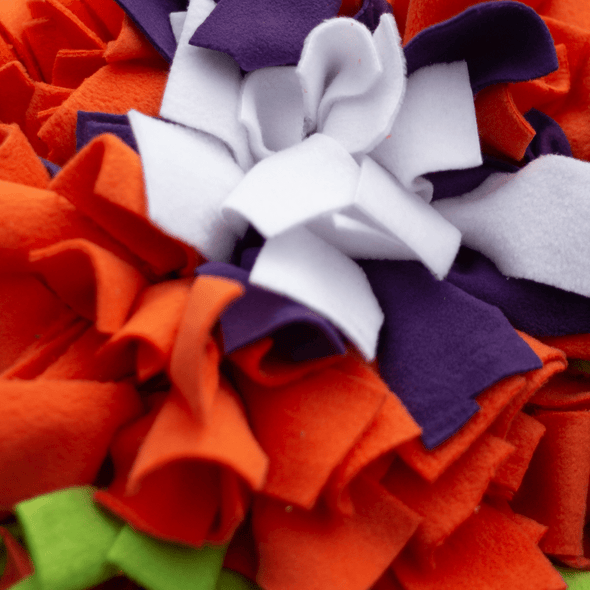 Orange marigold snuffle mat close up by pet boutique nz