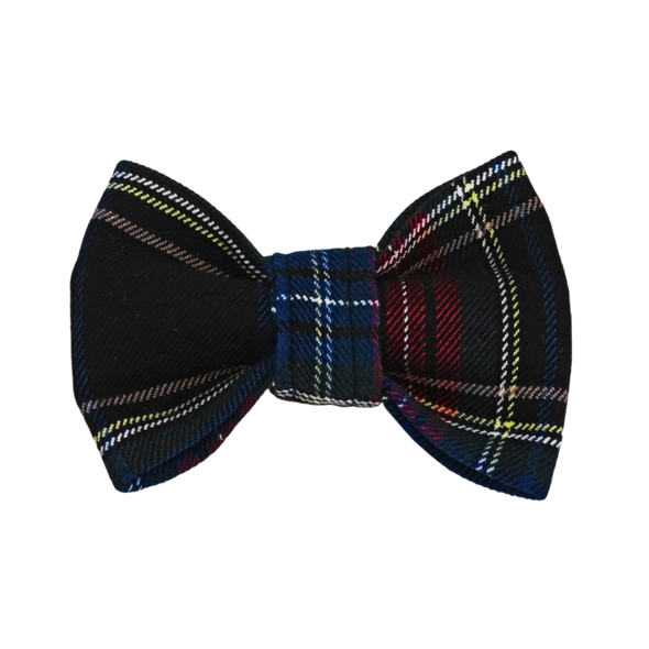 Navy Blue plaid dog bow tie