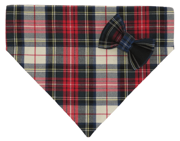 Classic Plaid Dog Bandanas with a navy plaid bow tie