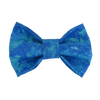 Turquoise glitter blue clouds dog bow tie by pet boutique