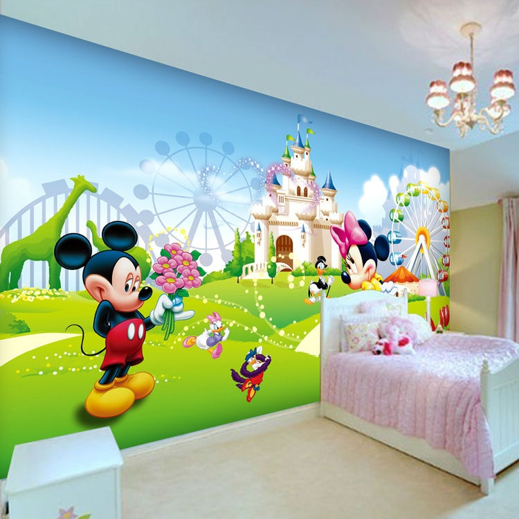 Lovely Mickey & Minnie Photo Wallpaper 3D Wall Mural Cartoon Wallpaper Boys Kids Girls Room decor Bedroom Art Home Decoration