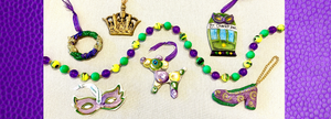 mardi gras ornaments, mask, crown, king cake, Muses shoe, streetcar