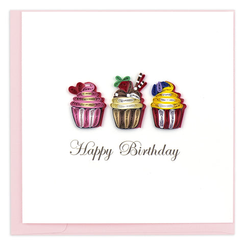 Quilled Birthday Cupcakes Greeting Card