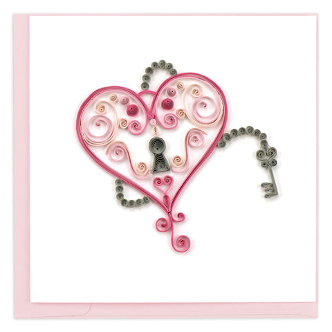 Key To My Heart Quilled Greeting Card