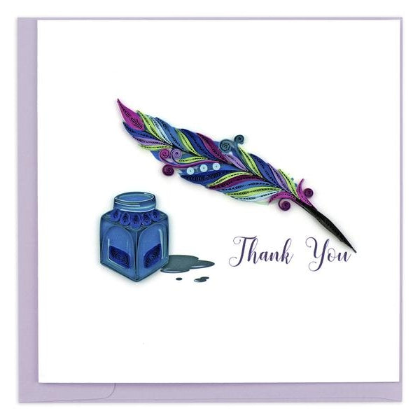 Quilled Quill & Ink Thank You Card