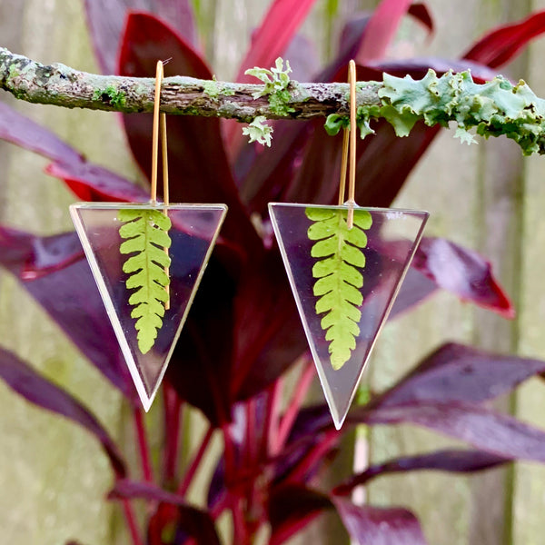 Real Fern Leaf Isosceles Earrings
