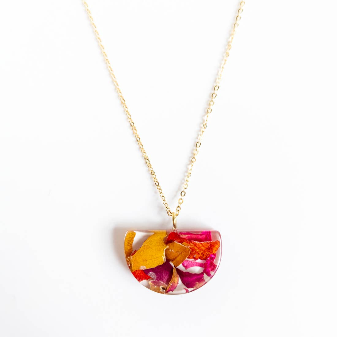 Rose Petal Half-Moon Necklace