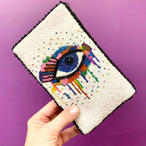 """Eye Paint"" Beaded Cell Phone Bag by Mary Frances"