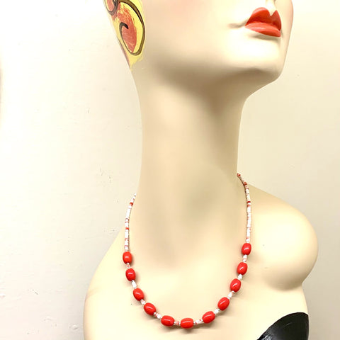 """Red Hot"" Vintage Glass Mardi Gras Bead Jewelry Set"