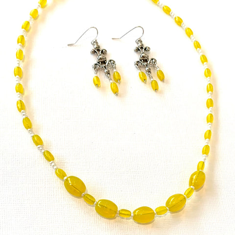 """Lemon Drop"" Vintage Glass Mardi Gras Bead Jewelry Set"