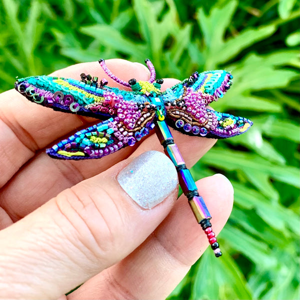 Amethyst Dragonfly Brooch Pin