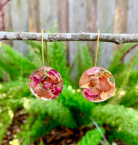 Rose petal full moon earrings