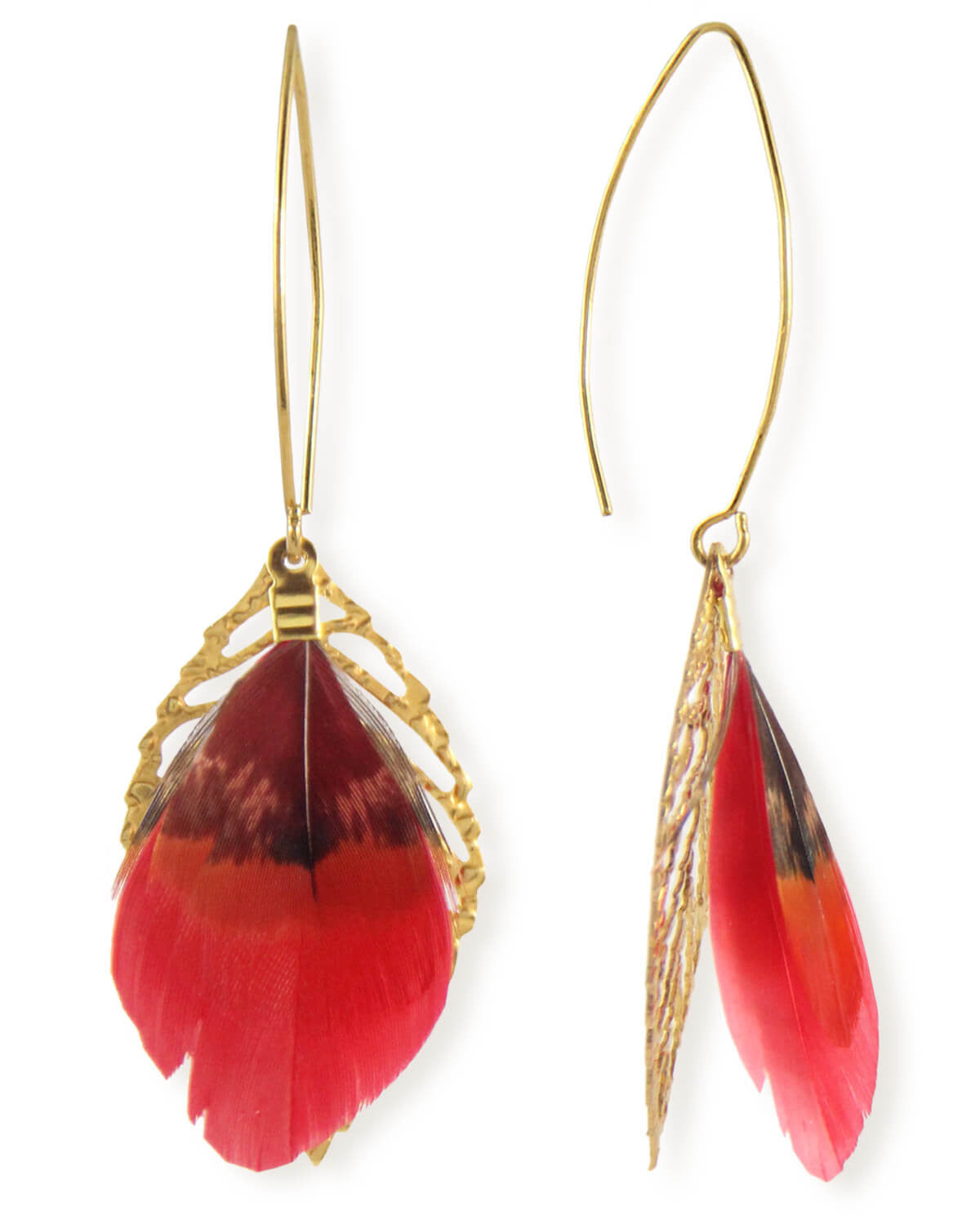 Feather & Leaf Drop Earrings