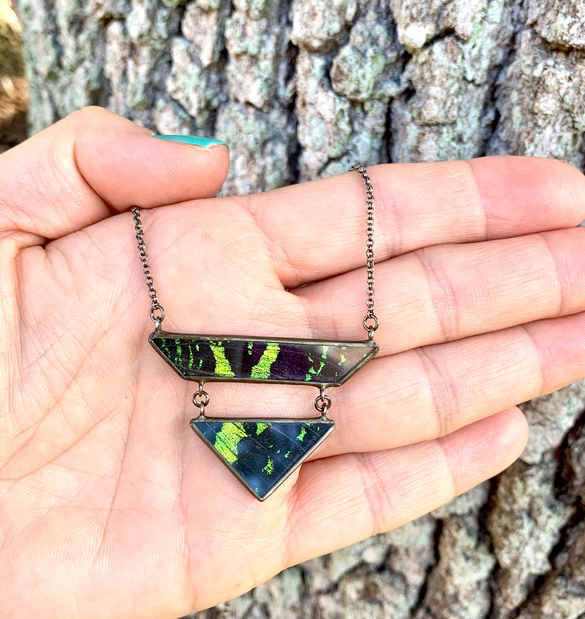 Geometric Drop Butterfly Wing Necklace