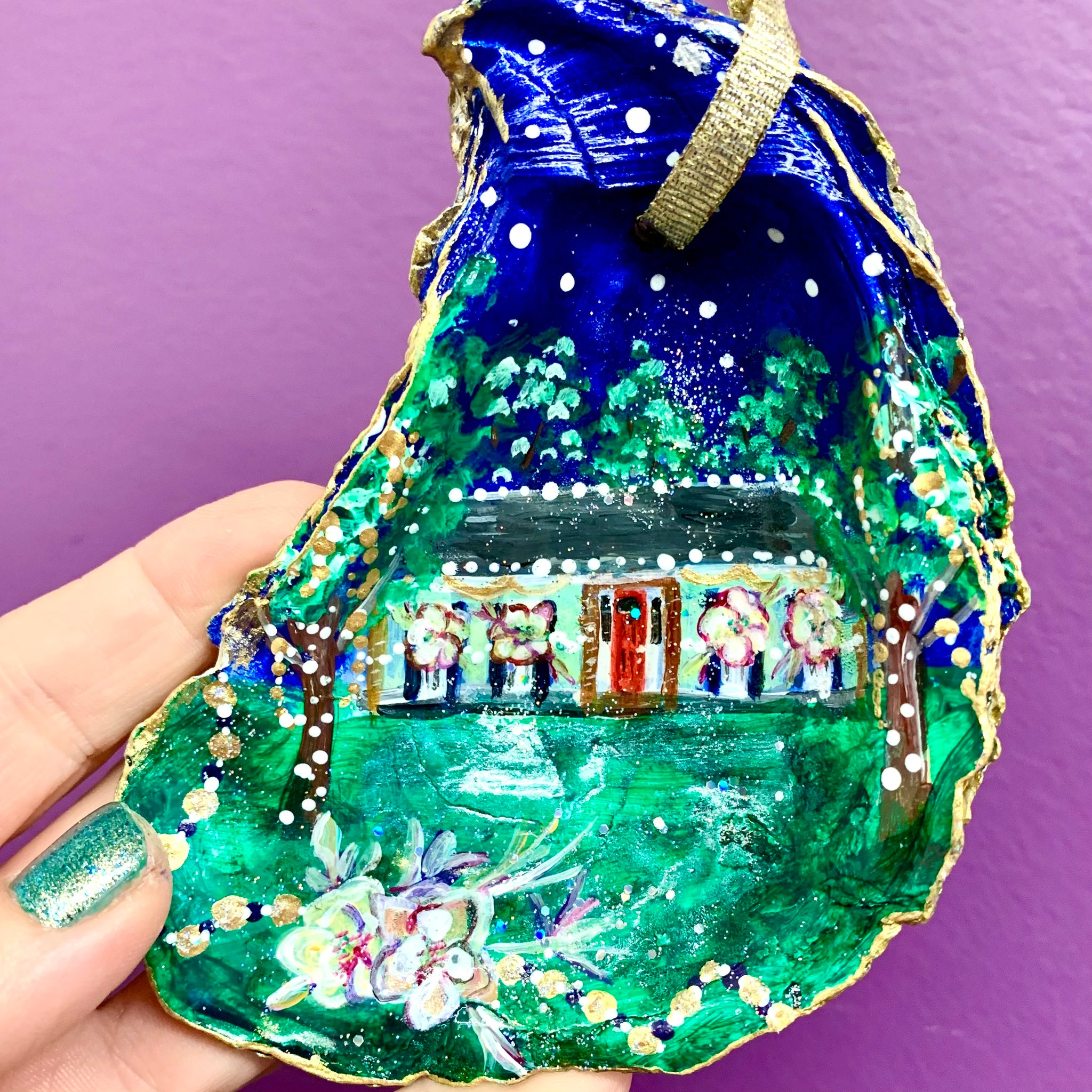 Custom House Float Oyster Shell Ornament