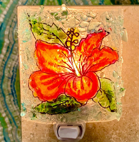Recycled Glass Night Light - Hibiscus