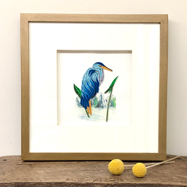 Quilled Blue Heron Greeting Card