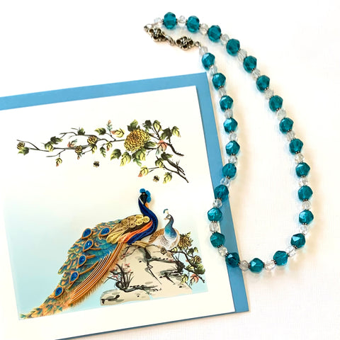 """Ocean Dreams"" Vintage Glass Mardi Gras Bead Jewelry Set"