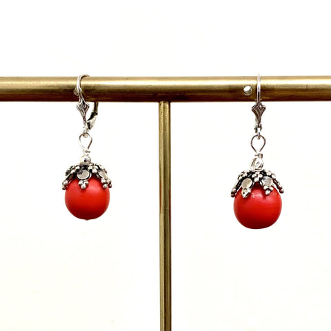 """Creole Tomato"" Vintage Czech Glass Earrings"
