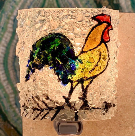 Recycled Glass Night Light - Rooster