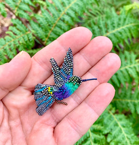 Green Crowned Hummingbird Brooch Pin
