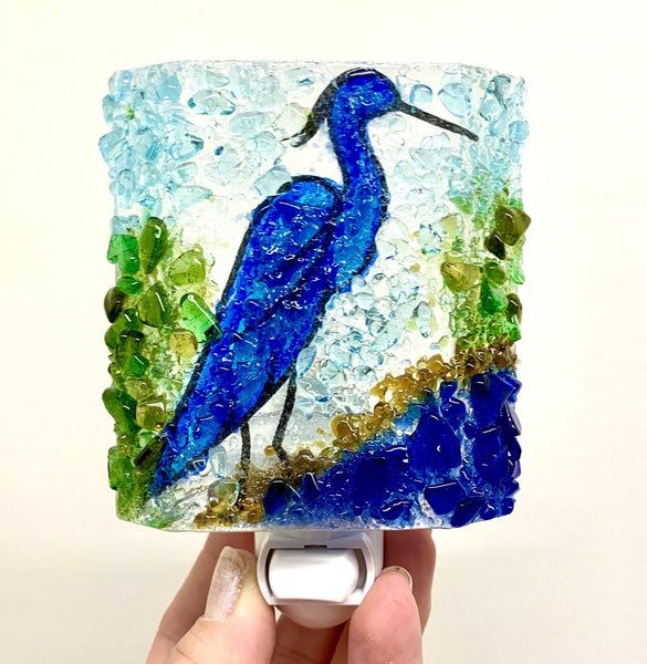 Recycled Glass Night Light - Blue Heron