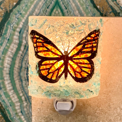 Recycled Glass Night Light - Monarch