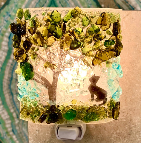 Recycled Glass Night Light - Kitty Cat