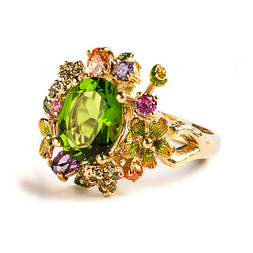925 SILVER GOLD PLATEAD RING WITH GREEN FLOWERS GREEN CRISTAL AND COLORED CRISTALS