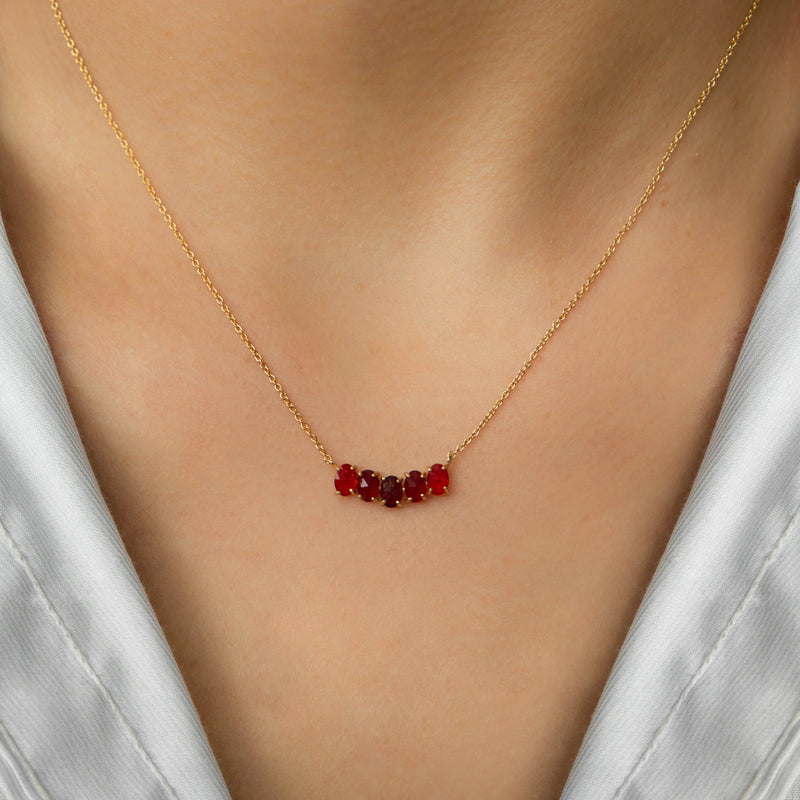 SILVER GOLD PLATED NECKLACE WITH RED CRYSTALS.